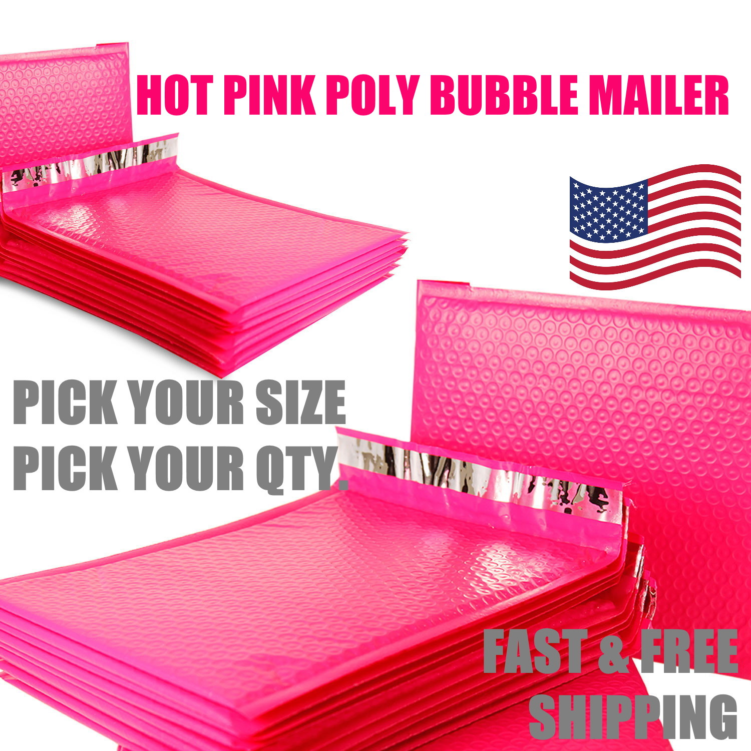 """QTY 1 #000 4/"""" x 7/"""" PINK Color Poly Bubble Mailers Self Seal Padded Envelopes"""