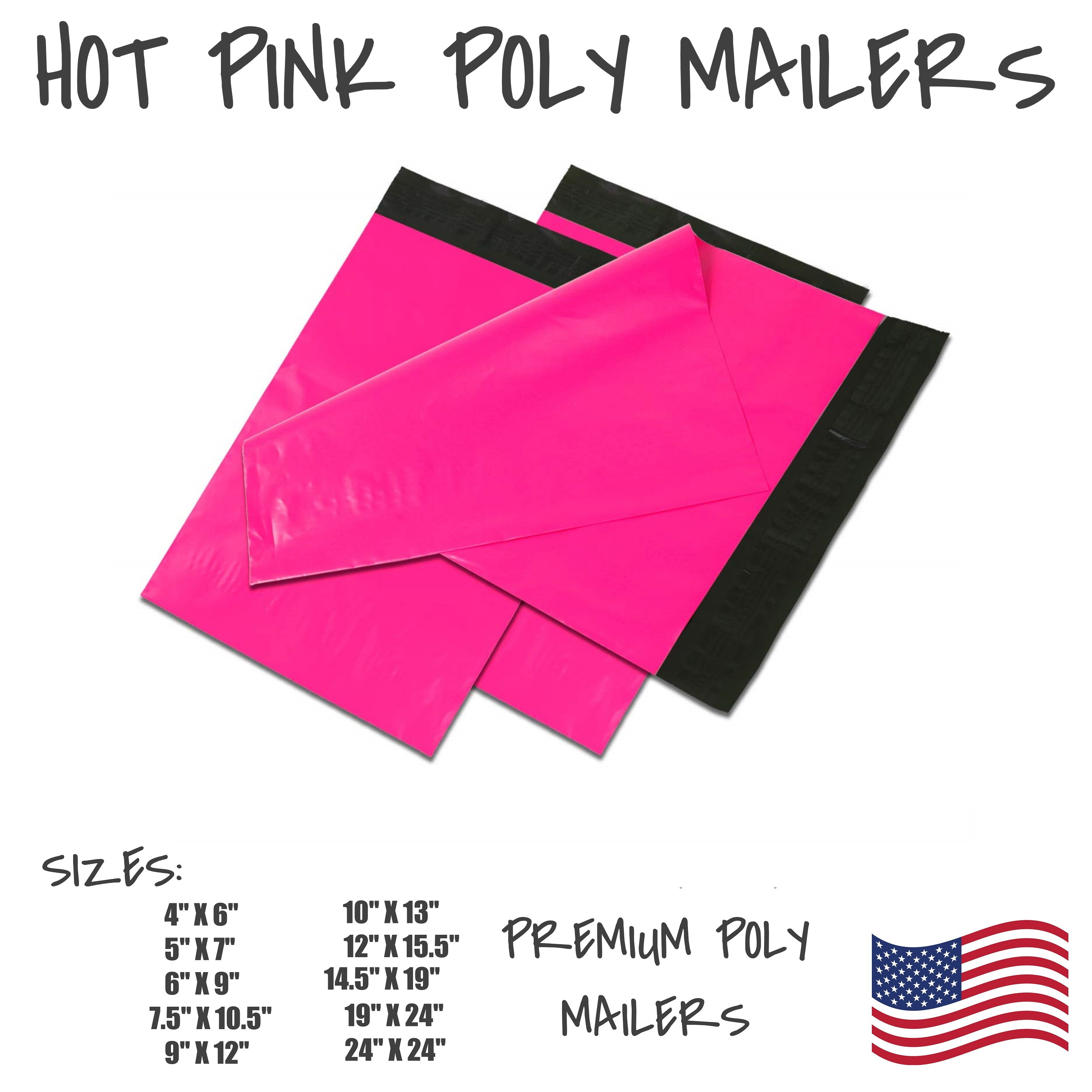200 10x13 HOT PINK 2.5 Mil Poly Mailers Envelopes Boutique Bags 100/% Recycle